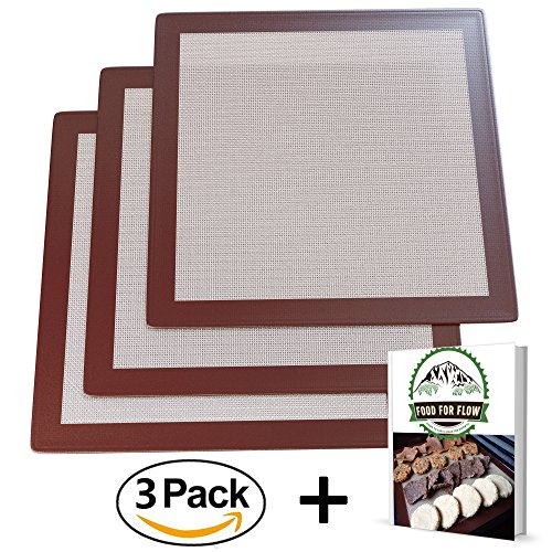 Excalibur Food Dehydrator (Square Silicone Excalibur Dehydrator Sheets (3-Pack) Healthy, Dehydrated Food, Snacks, Fruit Roll-Ups | Heavy-Duty, Reusable | Heat-Resistant, Non-Stick Surface | Home Kitchen Use | Bonus Recipe Ebook)