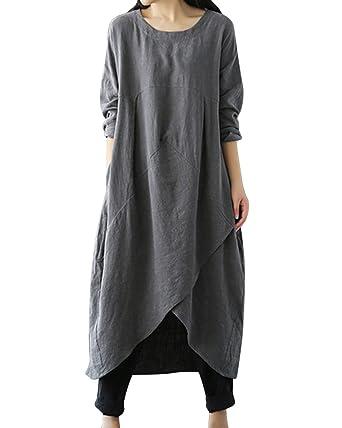 c64faa0870 LVCBL Women Autumn Round Neck Soft Linen Cotton Loose Long Dress 1 Gray S