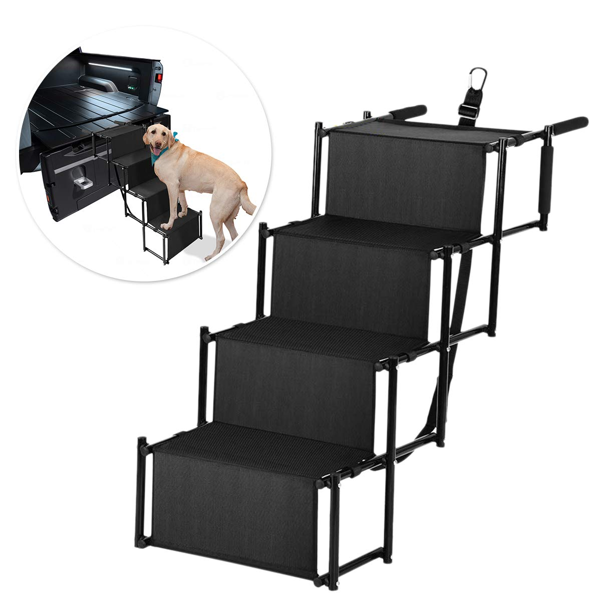 Zone Tech Car Pet Foldable Step Stair – Premium Quality Lightweight Portable Adjustable Metal Frame Folding Ramp Stairs Perfect for Any Size of House Pets