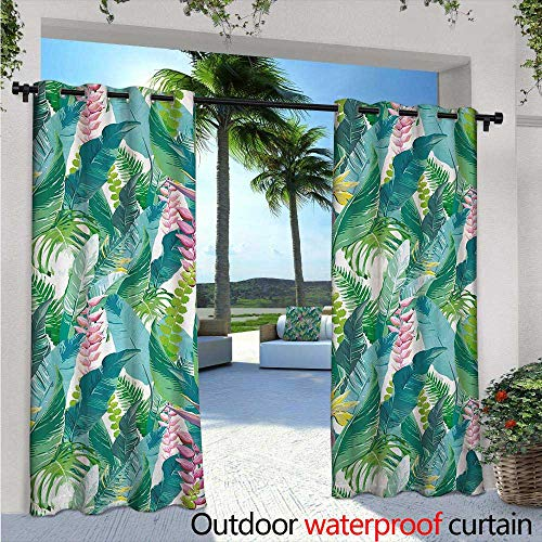 BlountDecor Leaf Indoor/Outdoor Single Panel Print Window Curtain W96 x L84 Summer Spring in Exotic Island with Flowers Plumeria Lilac Image Silver Grommet Top Drape Pink Pale Blue Yellow and Green from BlountDecor