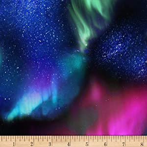 Timeless Treasures Northern Lights Aurora Sky Night Fabric, Blue, Fabric By The Yard