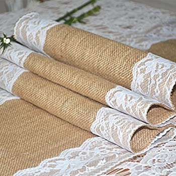"""Burlap Lace Hessian Table Runner Jute Country Outdoor Wedding Party Décor,12""""x108"""""""