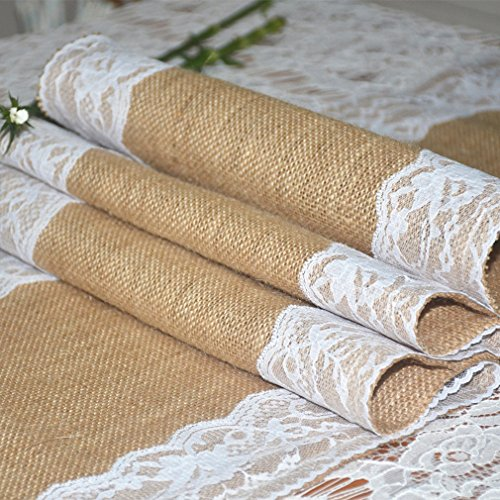 Burlap and Lace Table Runner, 12
