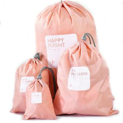 delicate 4 in 1 Best Quality Universal Waterproof Drawstring Bag -Pink & 4 Sizes