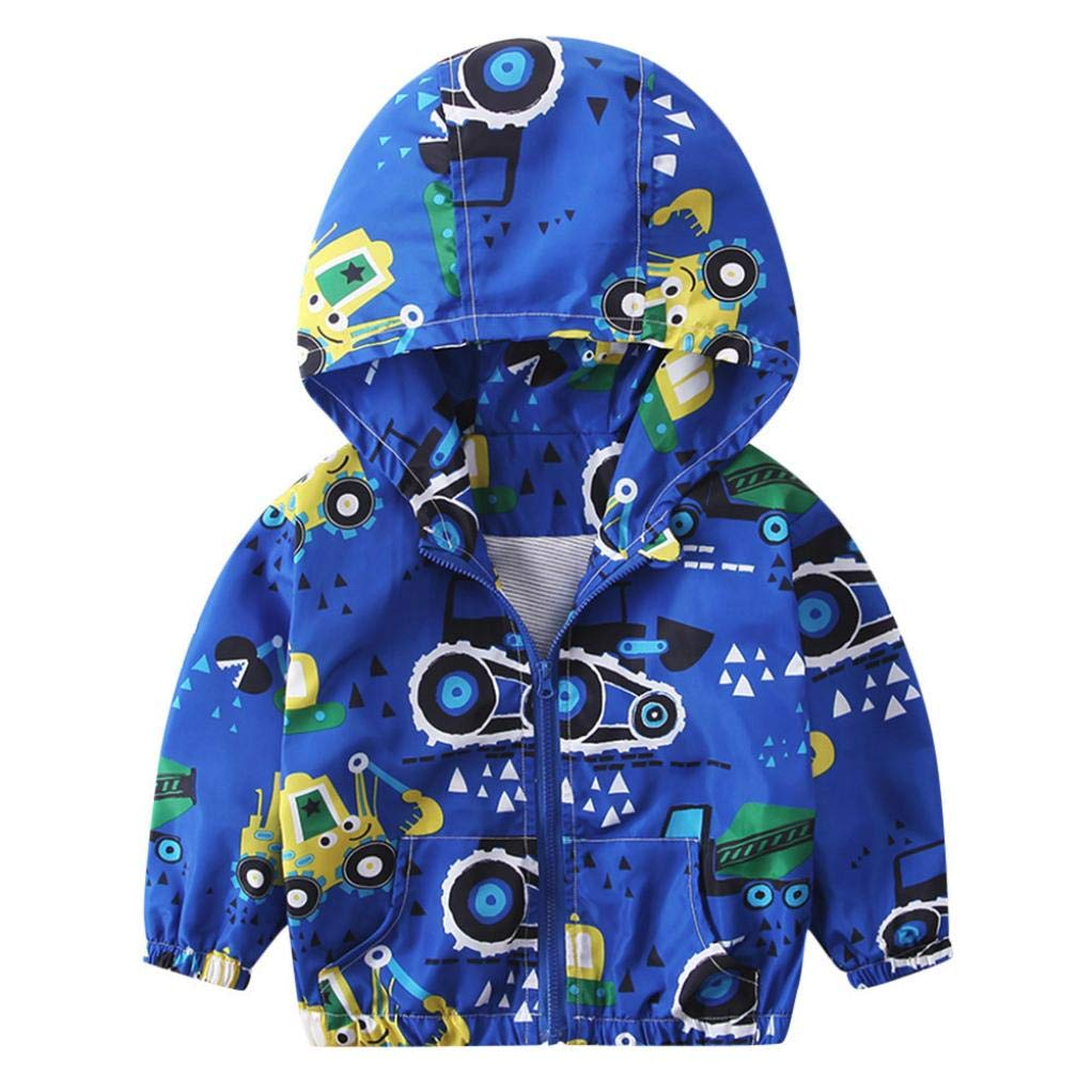 1-6T Kids Baby Autumn Hooded Coat Fashion Cartoon Excavator Zipper Pocket Outerwear Jacket Windbreaker Trench Tops (Blue A, 12-18 Months)