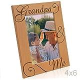 Kate Posh - Grandpa & Me Natural Wood Picture Frame - I love You Grandpa Gift, Grandpa Gifts, Grandparents Gifts, Best Grandpa Ever Gifts, Grandfather Gifts, Christmas Gift, (4x6 Vertical)