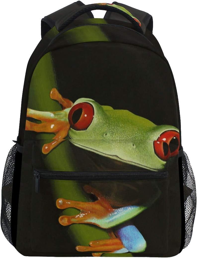 Brighter Red-Eyed Tree Frog Backpack Students Shoulder Bags Travel Bag College School Backpacks for Men and Women