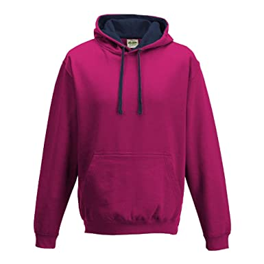 Just Hoods - Unisex Varsity Hoodie - 2-farbiger Kapuzenpullover XS,Hot Pink/