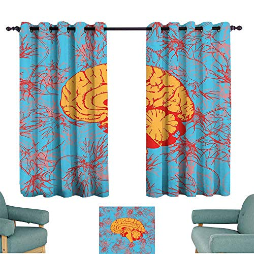 SONGDAYONE Surrealistic Soundproof Curtain Human Brain Penetrated by Neural Communications Artistic Graphic Reduce Light Red Marigold Sky Blue (2 Panels,W72 xL72)