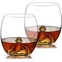 WOQO Gläser 2 x 350ml, für Deutsches Bier/Fruchtsaft/Eistee/Whiskey, Stilvoll Kristall Glas und Geschenkkarton