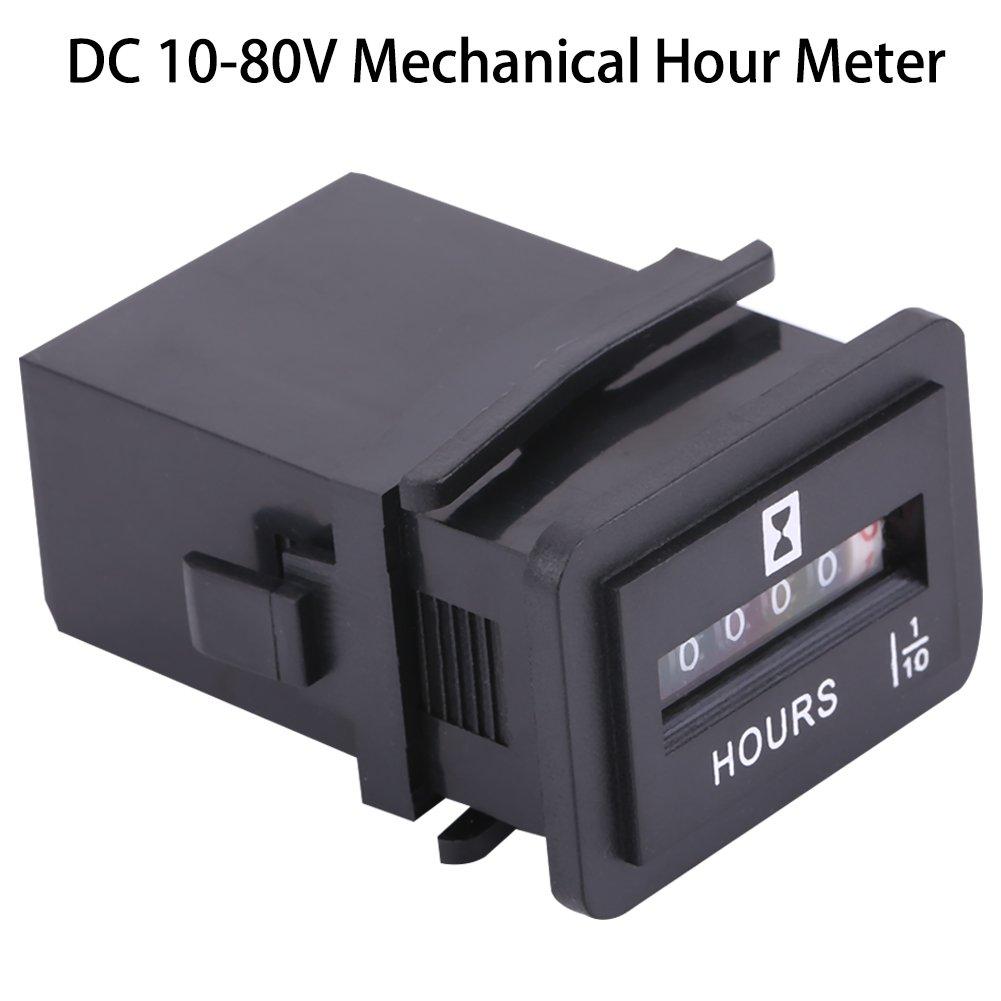 Hour Meter Gauge, DC 6-80V Mechanical Hour Meter Gauge for Diesel Gasoline Engine Generator Motor Boat (HM001) Walfront