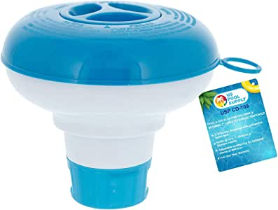 "U.S. Pool Supply Pool & Spa Floating Chlorine & Bromine 1"" Tablet Chemical Dispenser, 5"" Diameter, Collapsible Floater"