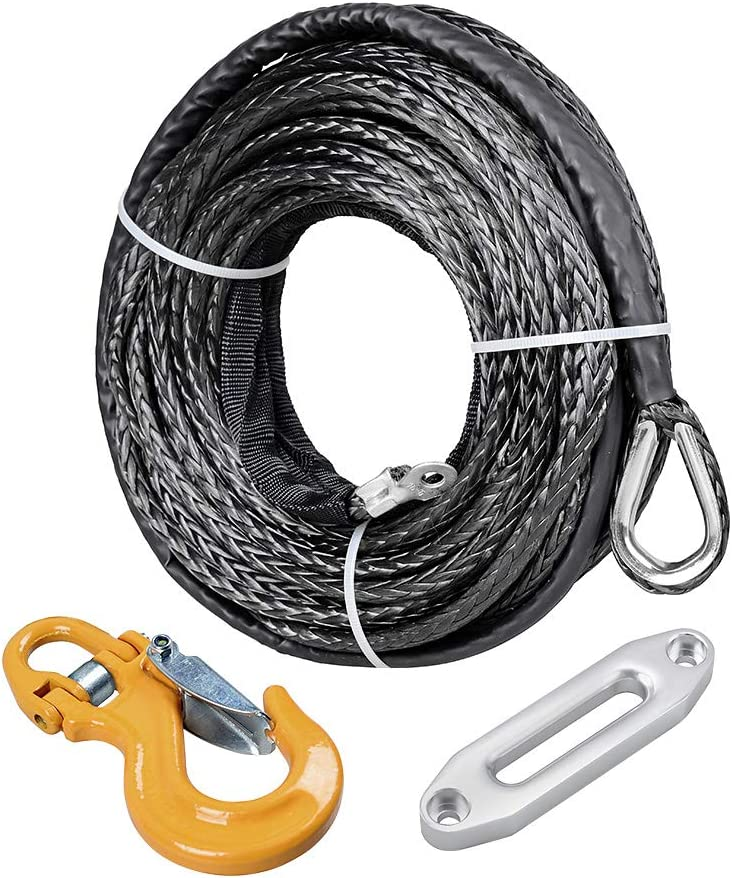 High-Grade Billet Aluminum Hawse Failead 50 x 1//4 Synthetic Winch Rope Heavy Duty Forged Steel Half-Linked Winch Hook Compatible with UTV ATV SUV Truck