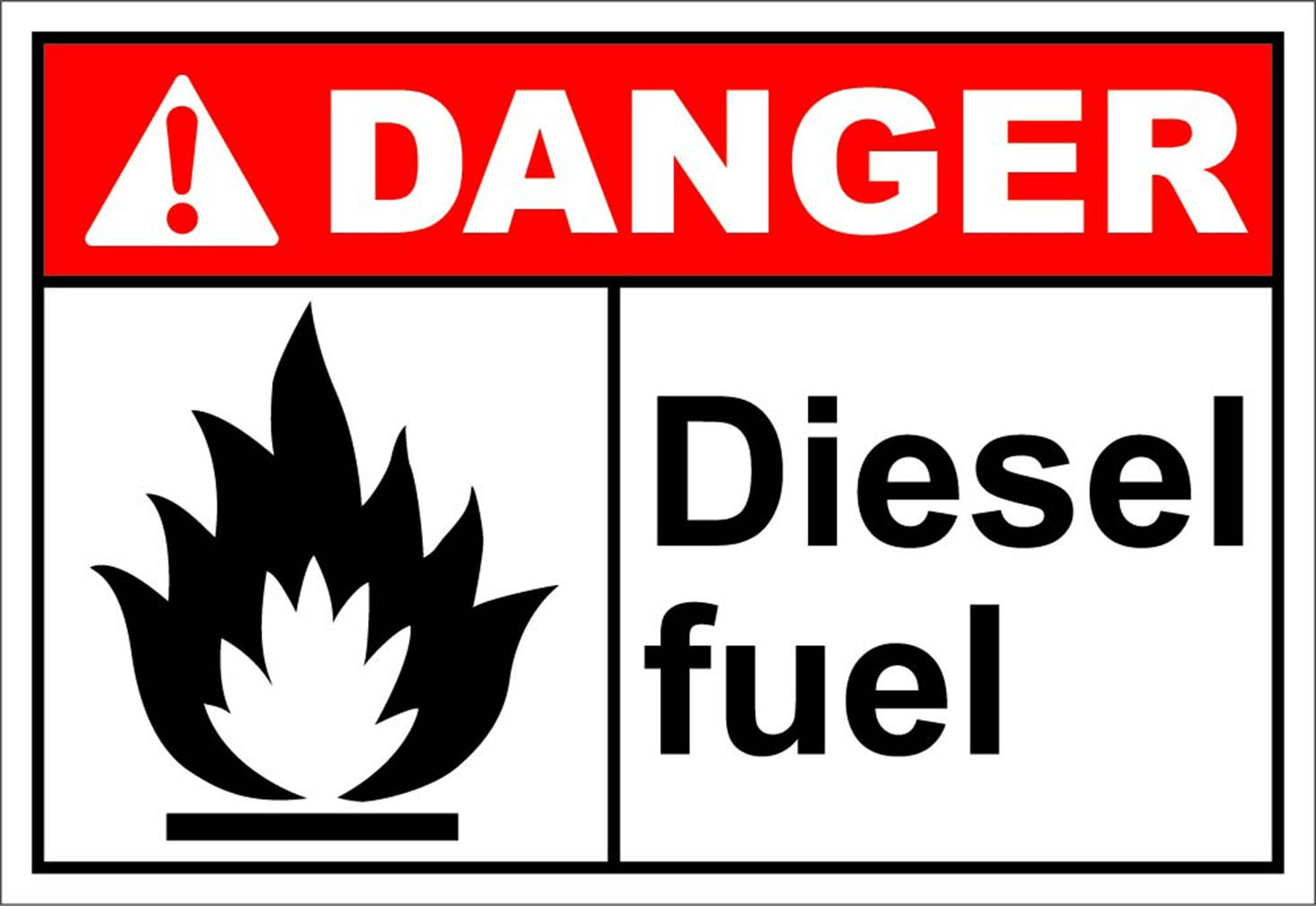 Diesel Fuel Danger OSHA / ANSI LABEL DECAL STICKER 10 inches x 14 inches
