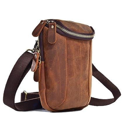 f46a469cffa Amazon.com   LXIANGP Men s Vintage Leather Waist Bag Multi-Function Wear  Belt Shoulder Diagonal Bag Hanging Pocket Bag Mobile Phone Bag