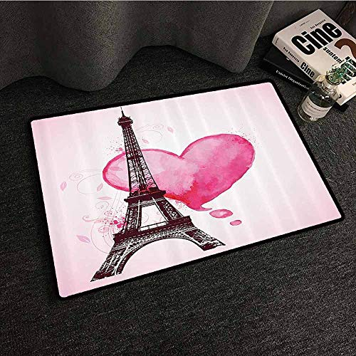 (Eiffel Tower Decor Interior Door mat Eiffel Romantic Valentine Love Watercolor Themed Heart Leaf Silhouette Print Quick and Easy to Clean W20 xL31 Plum Fuchsia)