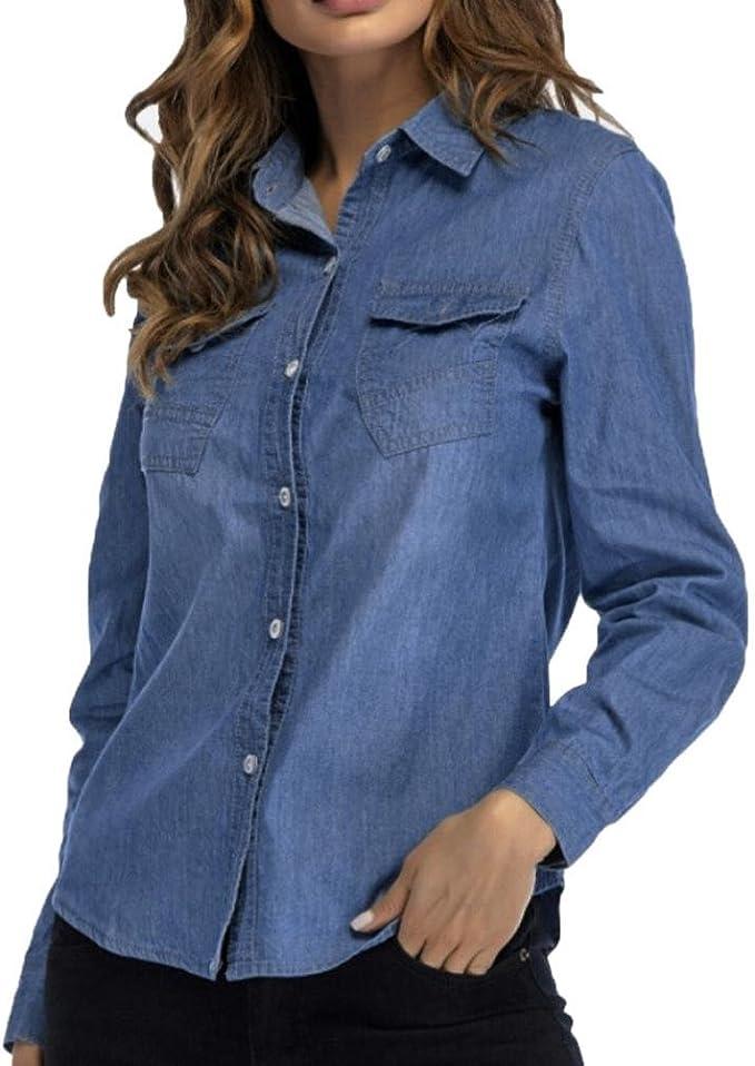kstare Mujer Vintage camisas de manga larga para Casual Tops ...