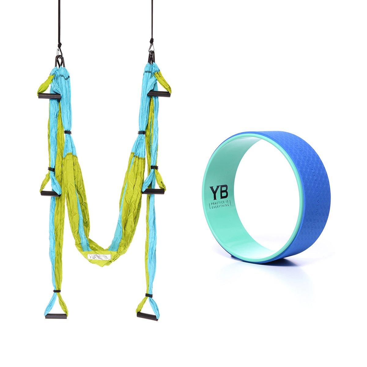Bundle - 2 Items: Yoga Trapeze Blue & Yoga Wonder Wheel [Bundle] - Blue By YOGABODY - with 2 Free DVD