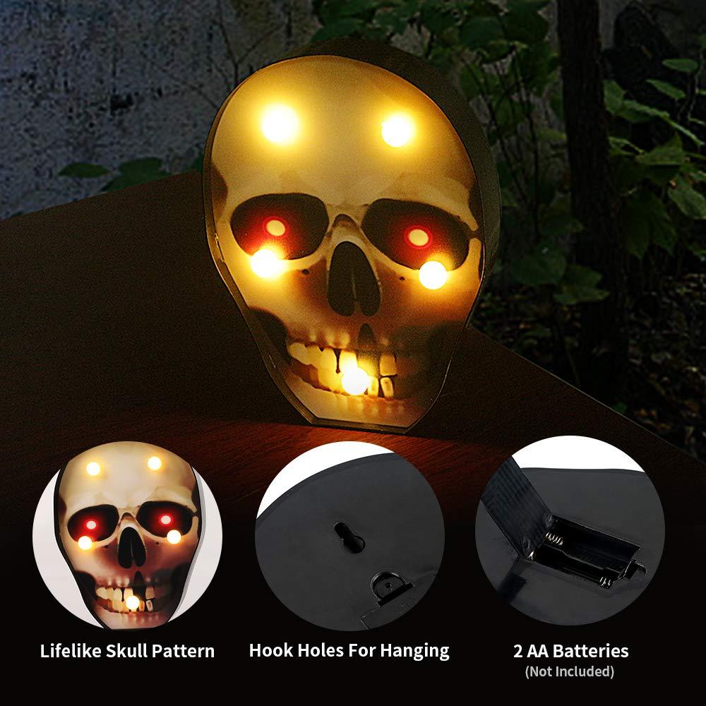 Halloween Decoration XTF2015 LED Skull Lights Halloween Nightlights Battery Operated Decorative Table Lights for Halloween Party Decor Halloween Lighting,Indoor and Outdoor