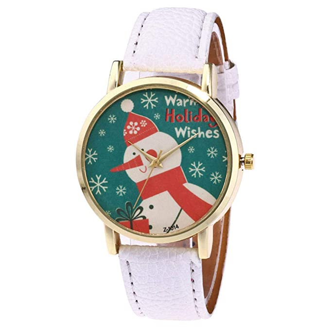 Amazon.com: Womens Wrist Watch, Iuhan Christmas Snowman Pattern Analog Female Watches Lady Watches Leather Watch (Khaki): Cell Phones & Accessories