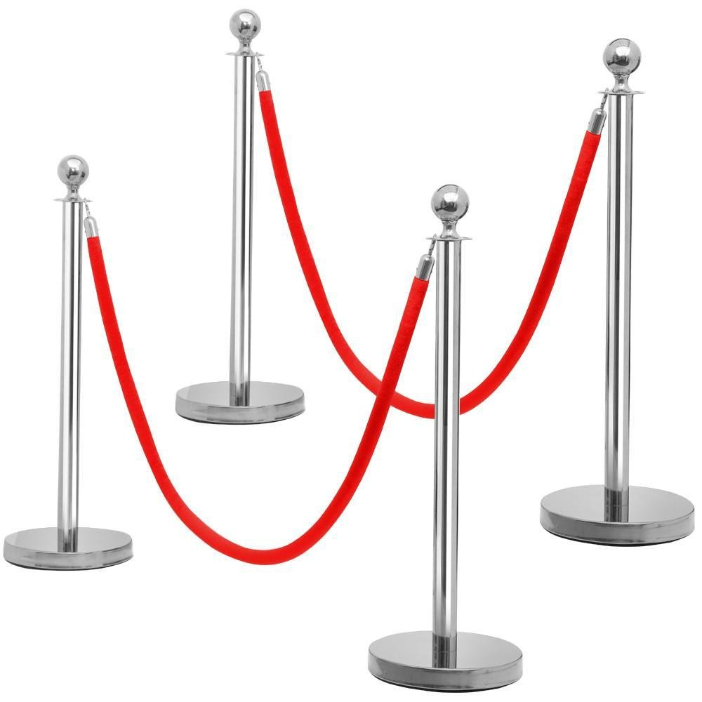 Yaheetech 4pcs Silver Round Top Stainless Steel Stanchion Crowd Control Barrier Posts w/6.5' Red Rope