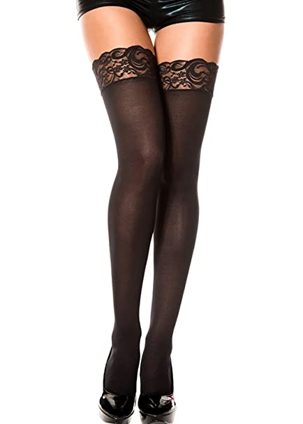 4e5115524 ThreeH 2 Pairs Thigh-High Stockings Sexy Lace Top Socks Opaque Nylon Tights  C468Black: Amazon.ca: Clothing & Accessories