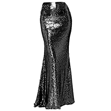 AiniDress Womens High Waist Sequins Skirts Mermaid Skirt Prom Dresses Plus Skirt 2017 Black Size 2