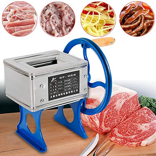 Meat Cutting Machine Meat Shred Machine Meat Slicing Shredding Cutting Machine Manual Meat Slicer Cutting Machine Hand-cranked Meat Grinder Stainless Steel Blade for Pork Mutton Beef (US STOCK)