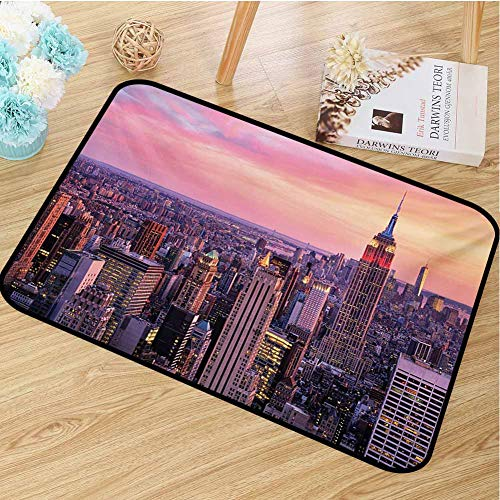 hengshu Cityscape Commercial Grade Entrance mat New York City Midtown with Empire State Building Sunset Business Center Rooftop Photo for entrances garages patios W29.5 x L39.4 Inch Peach (Rooftop A Patio Building)