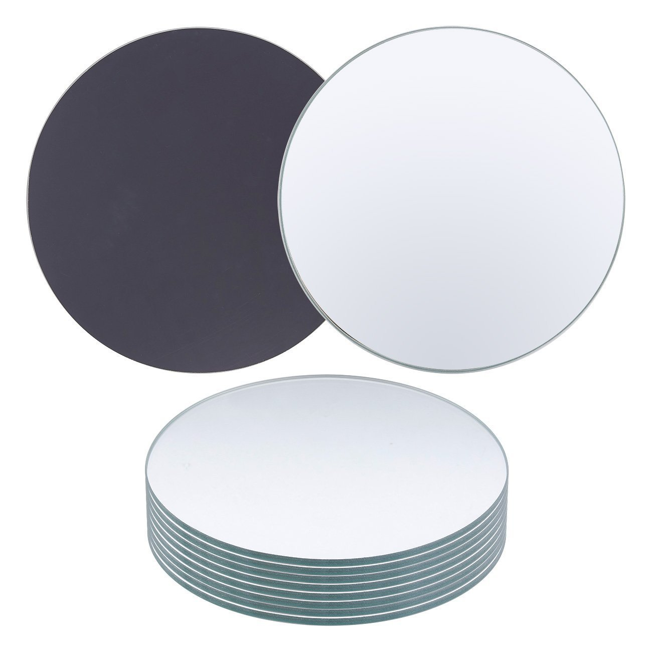 Juvale Round Glass Mirrors - 10-Pack Candle Plates - Perfect for Wall Decor, Crafts, Party Centerpieces - Clear, 10 Inches Diameter