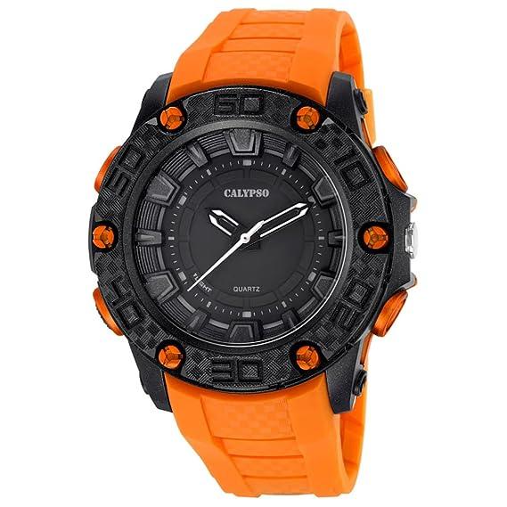 Calypso hombre-reloj SPORT analógico PU-Armband Esfera de colour negro y naranja cuarzo-reloj UK5699/1: Calypso: Amazon.es: Relojes