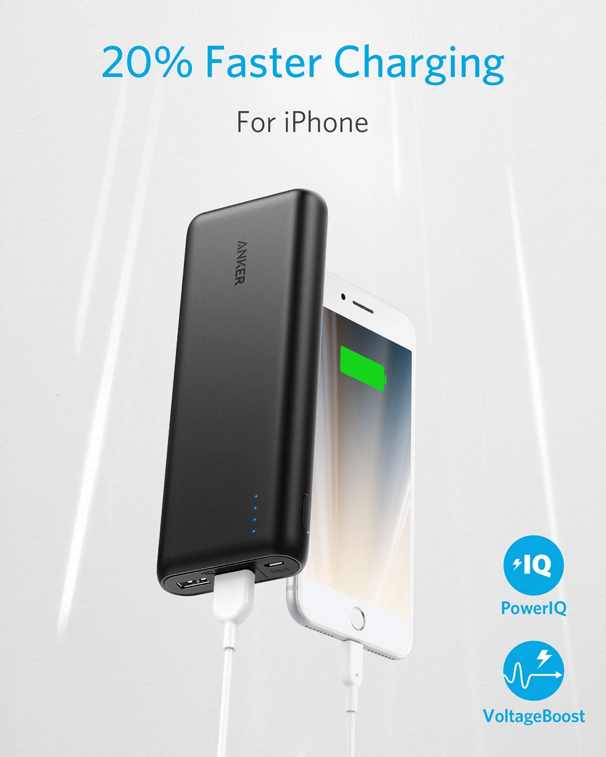 Portable Charger Anker PowerCore 20100mAh - Ultra High Capacity Power Bank with 4.8A Output, External Battery Pack for iPhone, iPad & Samsung Galaxy & More (Black) by Anker (Image #3)