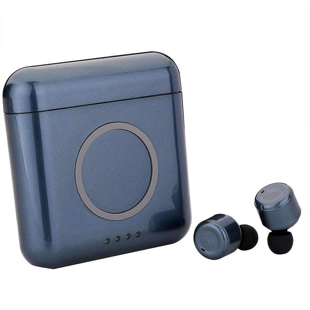 TechCode Bluetooth Earphones, Touch Control Wireless in-Ear Headphones w/Mic Noise Canceling Hands-Free Stereo Earbuds Phone Wireless Charge with 5200mAh Power Bank for Sports Workout, Dark Blue