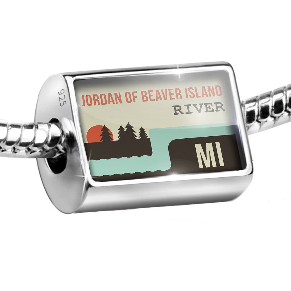 Sterling Silver Bead USA Rivers Jordan of Beaver Island River - Michigan Charm Fits All European Bracelets