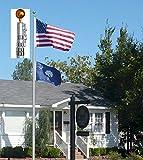 GHP 25FT Aluminum Telescoping Flag w 2 Flags Slot Pole Flag Kit Outdoor