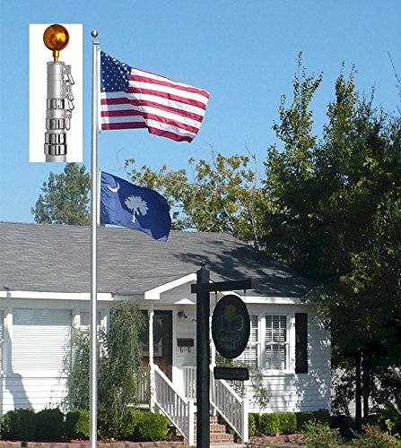 GHP 25FT Aluminum Telescoping Flag w 2 Flags Slot Pole Flag Kit Outdoor by Globe House Products