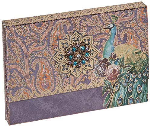 Punch Studio Brooch Portfolio Note Cards, Peacock Paisley, Set of 10 (43873), 6.5