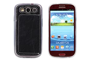 Galaxy S3 Case,Galaxy S3 Back Cover,Galaxy S3 Case with Card Holder,Spigeotter Back Case Cover with Credit Card Slot Protective Phone Case for Samsung Galaxy S3 I9300 Black