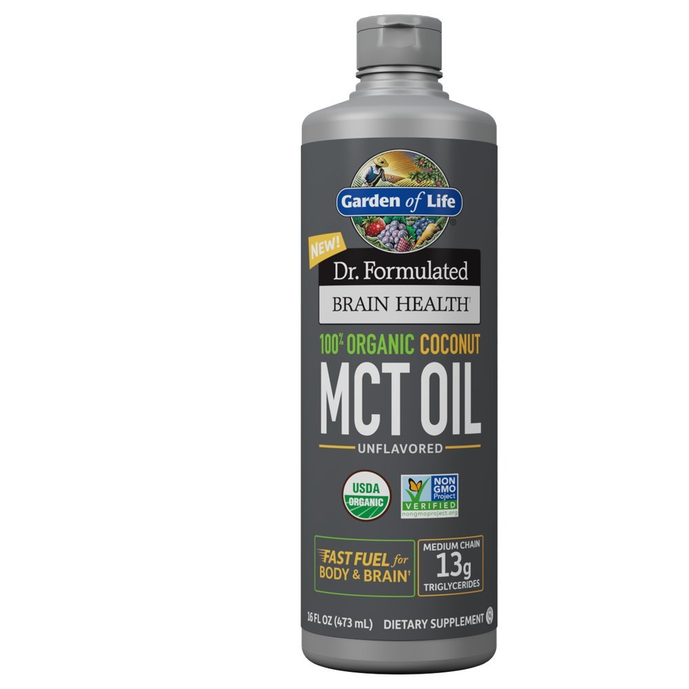 Garden of Life Dr. Formulated Brain Health 100% Organic Coconut MCT Oil 16 fl oz Unflavored, 13g MCTs, Keto & Paleo Diet Friendly Body & Brain Fuel, Certified Non-GMO Vegan & Gluten Free, Hexane-Free by Garden of Life