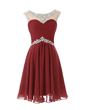 WanFuBridal Women Short Beaded Pleated Homecoming Dresses Backless Prom Dress