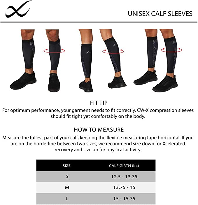 Black//Grey//Blue Medium CW-X Speed Model Calf Compression Sleeve