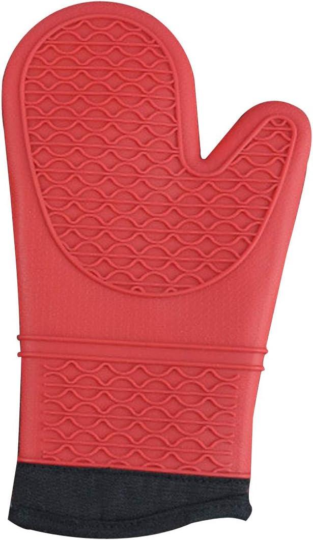 Noir TheWan Gant antid/érapant de Cuisine en Silicone et Coton Rouge Noir Taille 33 x 19 x 1.5 cm