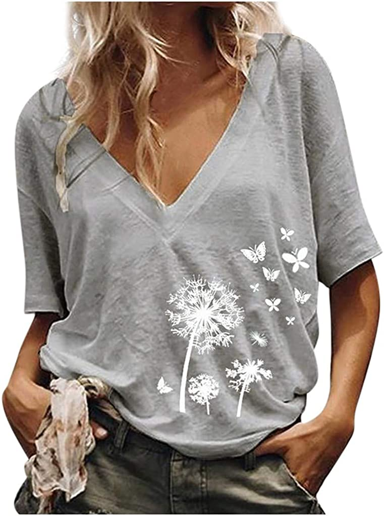 LUDAY Women Casual Summer Printed V-Neck Short Sleeves Plus Size Top T-Shirt Blouse S-2XL