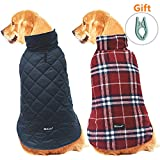 Dog Jacket Reversible Cloth - with Clothes Hanger, Cold Weather Coats Dog Apparel Warm Vest for Winter,Red Plaid,XXL
