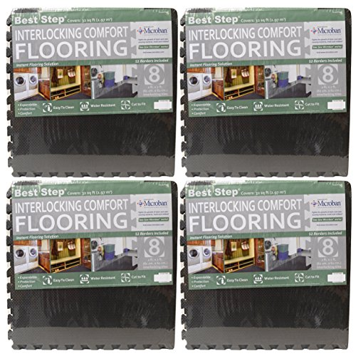 Best Step Interlocking Comfort Flooring. (4) 8 Packs plus Borders (2' x 2' x 3/8