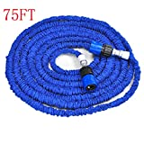 Zorvo New Latex 100FT Expanding Flexible Garden Water Hose with Spray Nozzle blue and green color