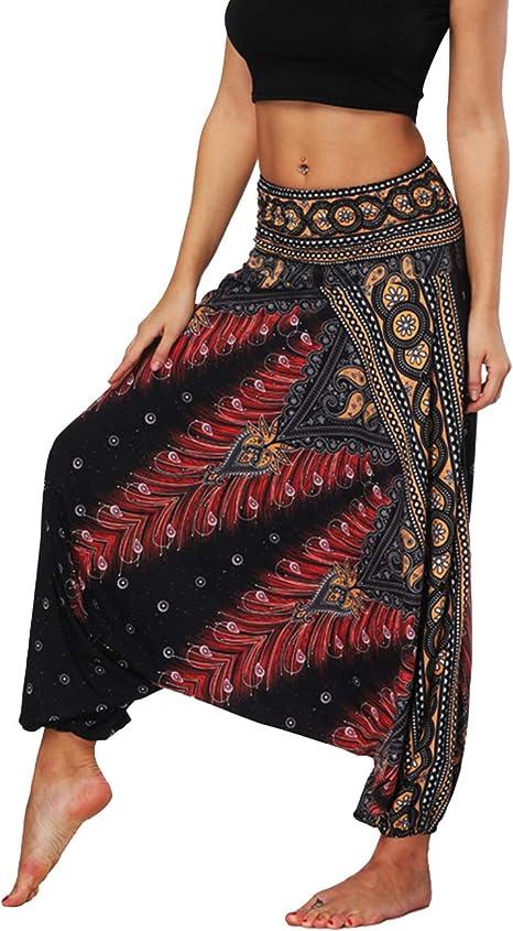 Defal Womens Bohemian Yoga Pants Hippy Harem Smocked Waist Trousers Flowy Beach Pants