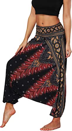Defal Womens Bohemian Yoga Pants Hippy Harem Smocked Waist Trousers Flowy Beach Pants