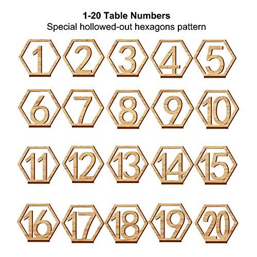 Rely2016 Wooden Table Number, 1-20 Wedding Wood Table Numbers Hexagon Geometric Reception Stands Décor for Wedding Banquet Birthday Party Events (1-20) by Rely2016 (Image #1)
