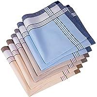 Men's Handkerchiefs,Classic design,100% Cotton Hankies,Pack of 6 (style 1)